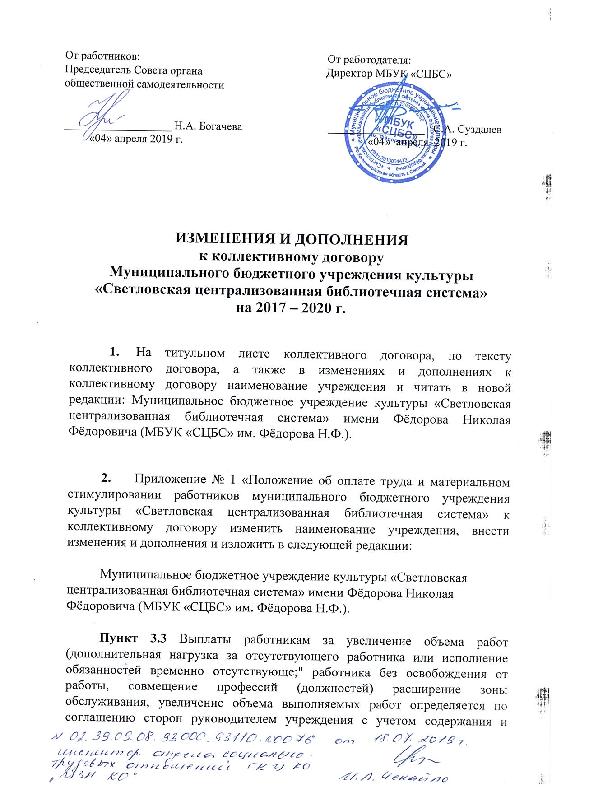 Изменения и дополнения к коллектив. договору 04.04.2019